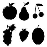 Silhouette des fruits, d'isolement sur le blanc - illustration Photos libres de droits