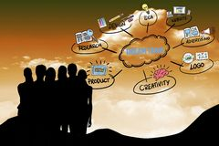 silhouette des gens d'affaires avec le graphique Image stock
