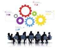 Silhouette des gens d'affaires rencontrant Infographic Photo libre de droits