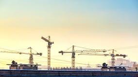 Silhouette des grues travaillant au chantier de construction sur le fond de ciel de coucher du soleil banque de vidéos