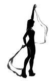 Silhouette des gymnastes photos stock