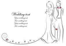 Silhouette des jeunes mariés illustration de vecteur