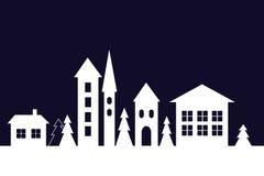 Silhouette des maisons dans la ville d'hiver illustration de vecteur