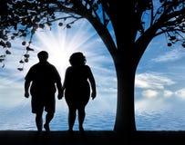 Silhouette des paires épaisses sous l'arbre et la mer Photographie stock