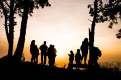 Silhouette des photographes Photos stock