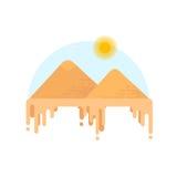 Silhouette des pyramides égyptiennes de Gizeh Images stock