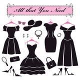 Silhouette des robes habillées noires Ensemble d'appartement de mode Photographie stock libre de droits