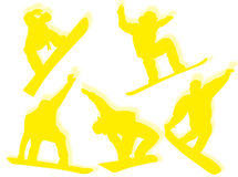 silhouette des snowboarders Image stock