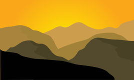 Silhouette of desert landscape Royalty Free Stock Photography