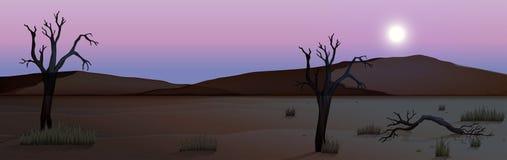 A silhouette desert scene. Illustration stock illustration