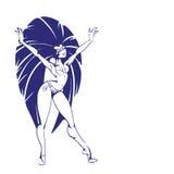 Silhouette design of dancing samba queen Stock Photos