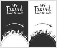 Silhouette design with famous world and landmarks skyline icons Stock Photography
