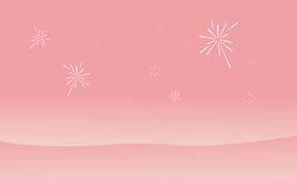 Silhouette of dessert and firework landscape Stock Photos
