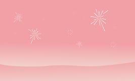 Silhouette of dessert and firework landscape. Vector flat Stock Photos