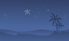 Silhouette of dessert with firework. Scenery vector art Royalty Free Stock Photo