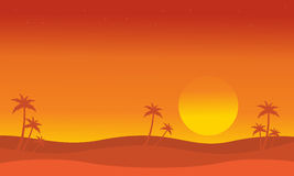 Silhouette of dessert with palm at sunset Royalty Free Stock Images