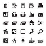 Silhouette 25 Detailed Internet Icons. Vector Icon Set Stock Image