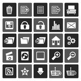 Silhouette 25 Detailed Internet Icons. Vector Icon Set Stock Photography