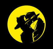 Detective silhouette cartoon  Stock Images