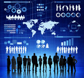 Silhouette Determination Of Business Teamwork Royalty Free Stock Photo
