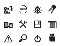 Silhouette developer, programming and application icons Royalty Free Stock Photo