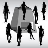 Silhouette différente de filles Photographie stock libre de droits