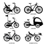 Silhouette of different bicycles for children, man and woman. Vector monochrome illustrations Stock Photos