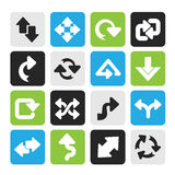 Silhouette different kind of arrows icons Stock Photography