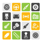Silhouette Different kind of car parts icons Stock Photos