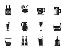 Silhouette different kind of drink icons Stock Images