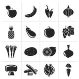 Silhouette Different kind of fruit and vegetables icons. Vector icon set Stock Photo