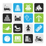Silhouette different kind of toys icons Stock Photo