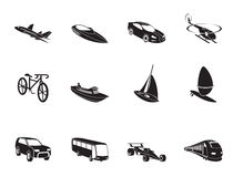 Silhouette different kind of transportation and travel icons Royalty Free Stock Photo