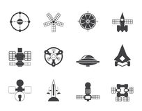 Silhouette different kinds of future spacecraft icons Stock Image