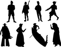 Silhouette of the different nationalities Royalty Free Stock Photography