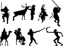 silhouette of the different nationalities Stock Photo