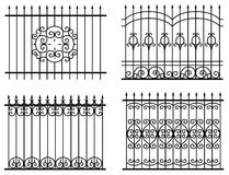 Silhouette of different old street fences Royalty Free Stock Photography