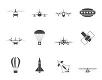 Silhouette different types of Aircraft Illustrations and icons Stock Photography