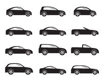 Silhouette different types of cars icons Royalty Free Stock Photo