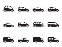 Silhouette different types of cars icons Stock Photo