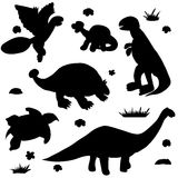 Silhouette of dinosaur. Isolated different individuals Royalty Free Stock Photography