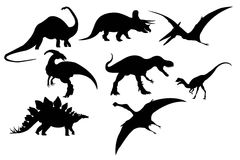 Silhouette of dinosaur set Stock Images