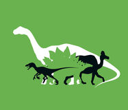Silhouette of dinosaurs the Jurassic period, overlapping layers, vector illustration Royalty Free Stock Image