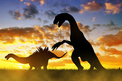 Silhouette of dinosaurs Royalty Free Stock Photography