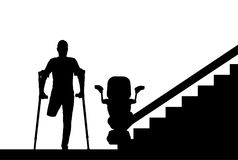 Silhouette Disabled person without a leg with crutches and a lift for disabled people vector illustration