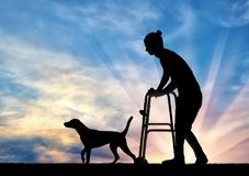 Silhouette of a disabled woman walking with a dog, uses a walker. The concept of the elderly and disabled Royalty Free Stock Image
