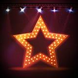 Silhouette of disco star retro sign Stock Photos