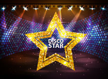 Silhouette of disco star sign on disco stage background. Silhouette of disco star  on disco stage background Royalty Free Stock Images