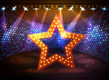 Silhouette of disco star sign on disco stage background. Silhouette of disco star on disco stage background Royalty Free Stock Photo
