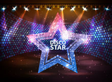 Silhouette of disco star sign on disco stage background. Silhouette of disco star on disco stage background Stock Images